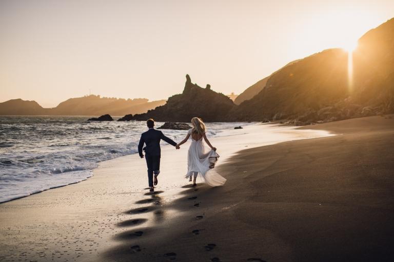 adventure couple black sand beach california elopement