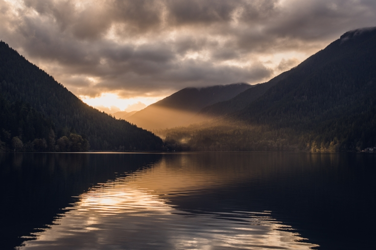 sunset, lake crescent, golden glow, reflection