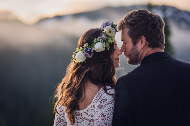 adventure elopement photography, elopement, olympic national park elopement, fog, sunset, adventurous couple, flower crown, lace wedding dress, roses, purple flowers