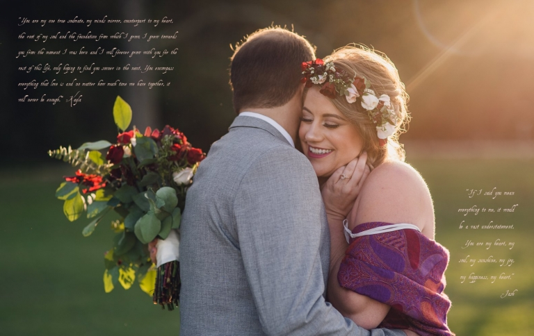 couple embraces at sunset during their intimate elopement