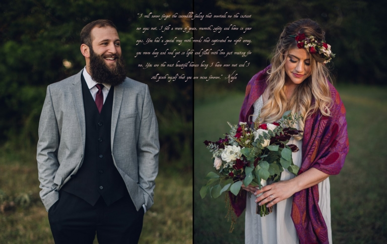 portraits of bride and groom on their elopement day