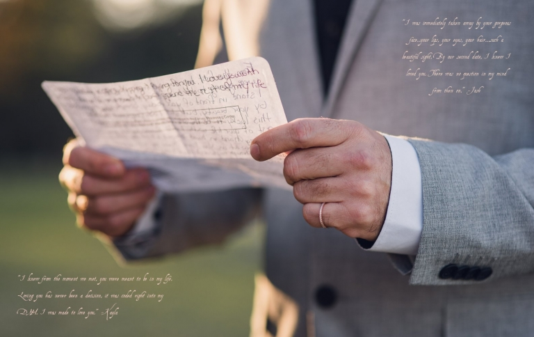 groom reads vows during elopement with fiancee's wedding ring on his pinky finger