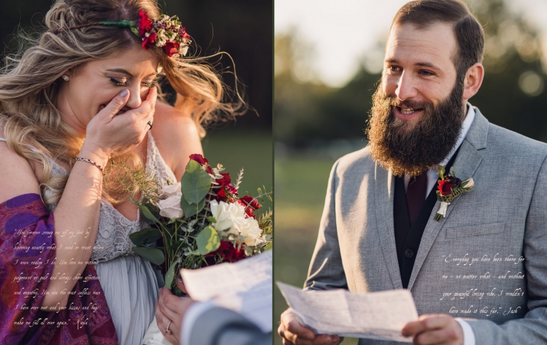 blonde bride cries while groom reads his wedding vows during their intimate coastal elopement