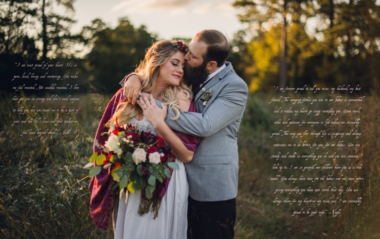 groom hugs bride holding a large bouquet on their elopement day