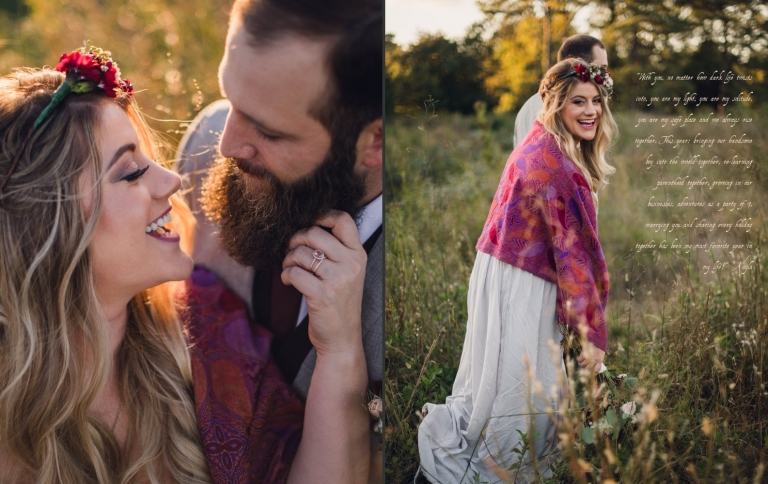groom leads bride wearing a maroon shawl through a field of grass during their adventure elopement