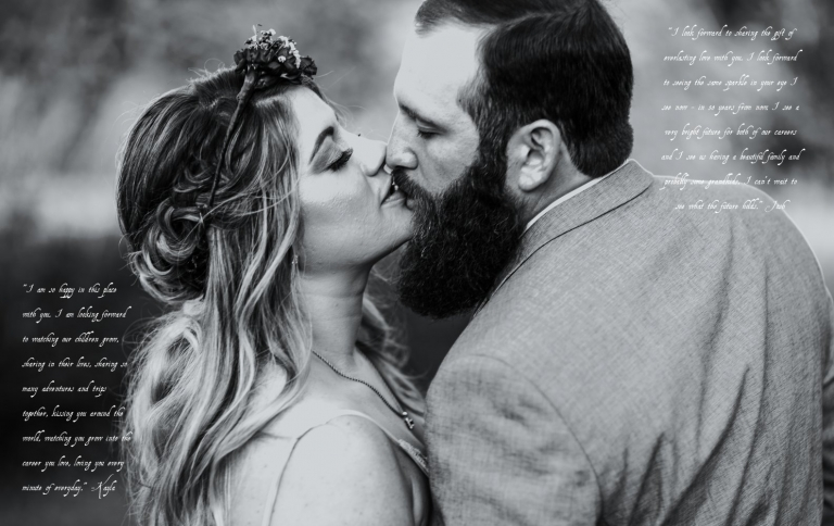 black and white image of wedding couple kissing during their elopement