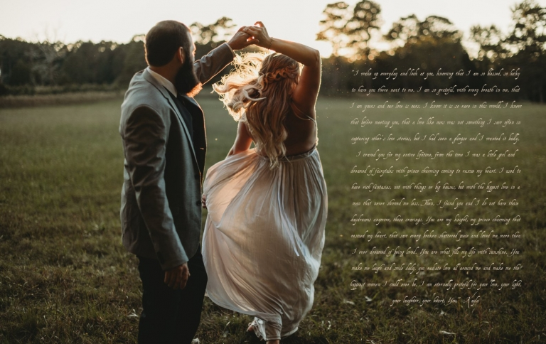 bride and groom dance at sunset in a field during their intimate elopement