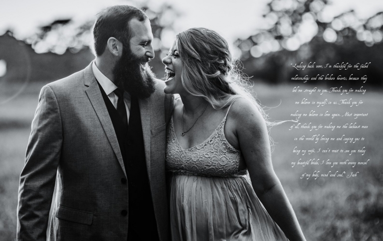couple share an excited laugh as they walk together during their elopement